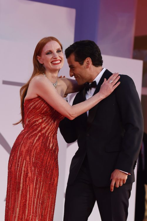 Jessica Chastain and Oscar Isaac on the red carpet at the Venice Film Festival on September 4, 2021
