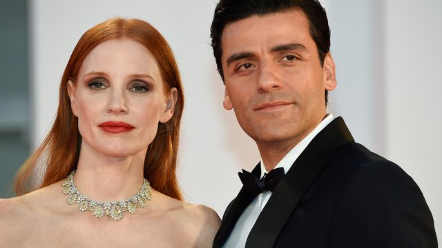 """Jessica Chastain and Oscar Isaac at the premiere of """"Scenes from a Marriage"""" at the Venice Film Festival on September 4, 2021"""