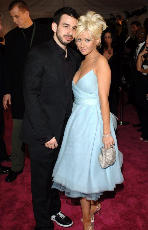 Jordan Bratman and Christina Aguilera at the Elton John AIDS Foundation Oscar Party in 2005