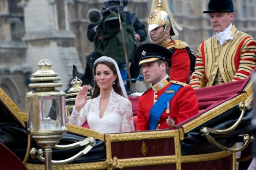 Kate Middleton and Prince William on their wedding day in April 2011