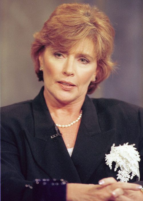 """Kathleen Willey appearing on """"Harball"""" in May 1999"""