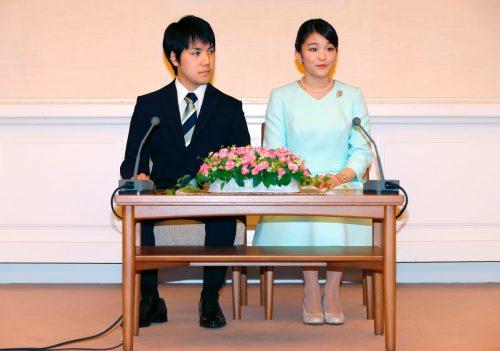 Kei Komuro and Princess Mako announcing their engagement in September 2017