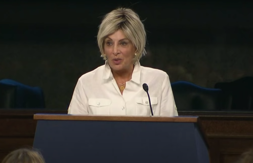 Linda Tripp speaking at a whistleblowers event in Washington, DC in 2018