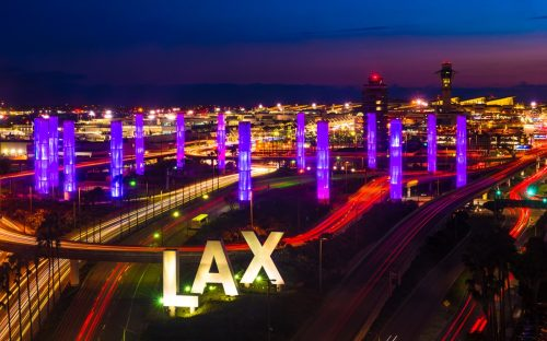 LAX sign at night