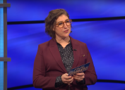 "Mayim Bialik hosting ""Jeopardy!"" in June 2021"