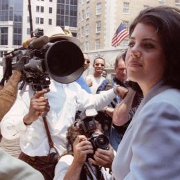 Monica Lewinsky arriving at her attorney's office in July 1998