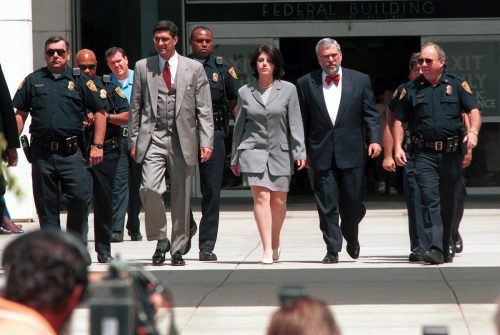 Monica Lewsinky leaving the U.S. Federal Courthouse in May 1998