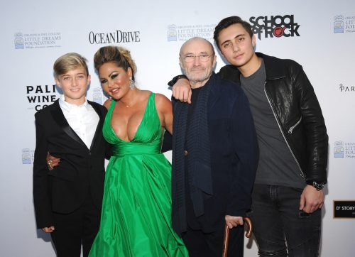 Matthew Collins, Orianne Cevey, Phil Collins, and Nicholas Collins at the 4th Annual Dreaming on the Beach Gala in November 2018