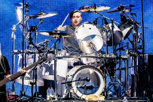 Nicholas Collins drumming for Phil Collins in June 2019 in Milan, Italy