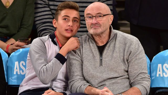 Nicholas and Phil Collins at a basketball game at Madison Square Garden in January 2015