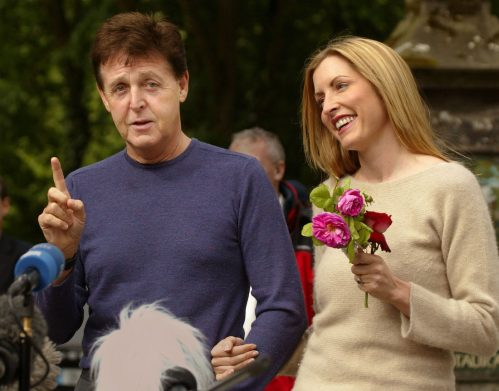 Paul McCartney and Heather Mills in Glaslough, Ireland the day before their wedding in June 2002