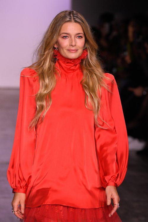 Paulina Porizkova walking the runway for Jiri Kalfar during New York Fashion Week in February 2019