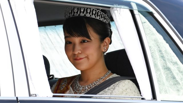 Princess Mako in a car leaving the Imperial Palace in Tokyo on May 1, 2019