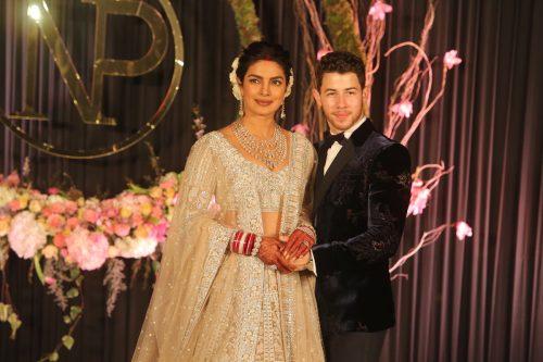 Priyanka Chopra and Nick Jonas at their wedding reception in New Delhi, India in December 2018