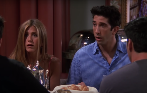 """David Schwimmer and Jennifer Aniston as Ross and Rachel on """"Friends"""""""