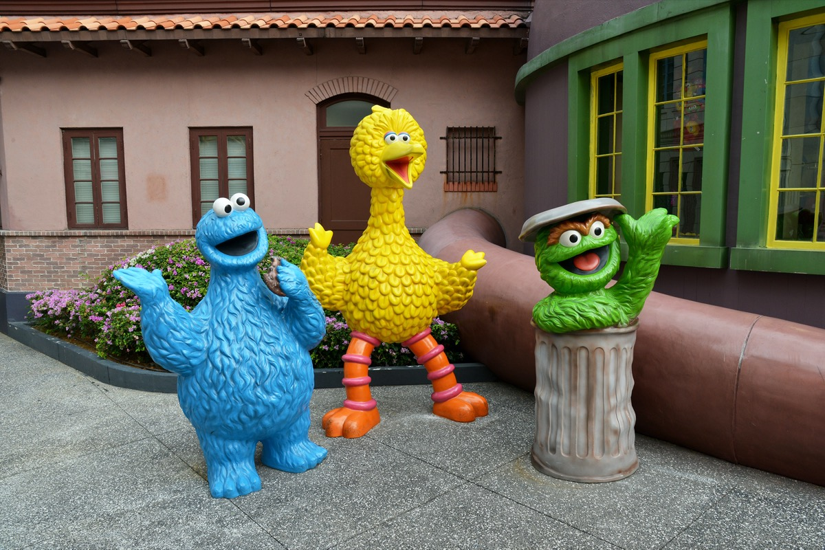 Cookie Monster, Big Bird, and Oscar the Grouch statues