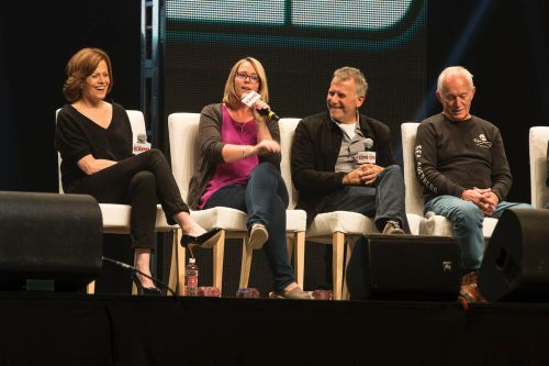 Sigourney Weaver, Carrie Henn, Paul Reiser and Lance Henriksen at the Calgary Comic and Entratainment Expo on April 26, 2014