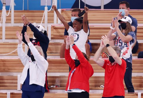 Simone Biles cheering during the Women's vault final at the Tokyo Olympics on August 1, 2021