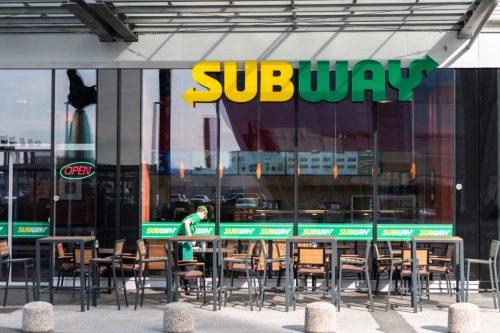 the exterior of a Subway restaurant