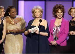 Meredith Vieira, Star Jones, Barbara Walters, Joy Behar and Elisabeth Hasselbeck presenting at the Daytime Emmys