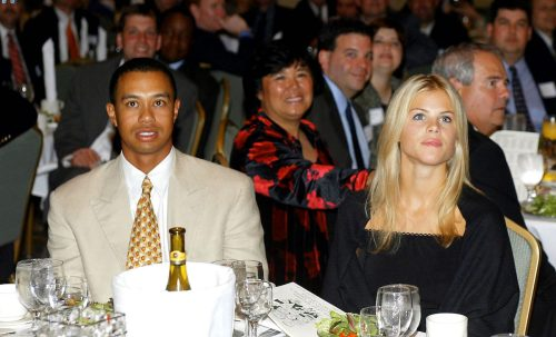 Tiger Woods and Elin Nordegren at the Golf Writers Association of America Awards Dinner in April 2002