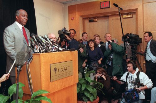 Vernon Jordan speaking to reporters in January 1998