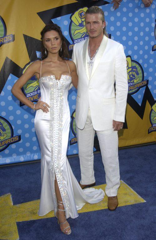 Victoria and David Beckham at the 2003 MTV Movie Awards