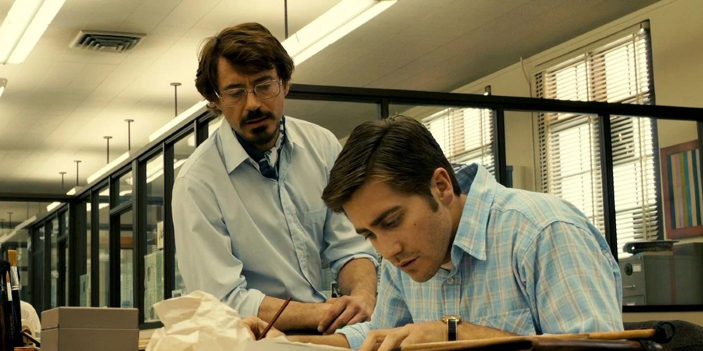 Robert Downey Jr and Jack Gyllenhaal in Zodiac
