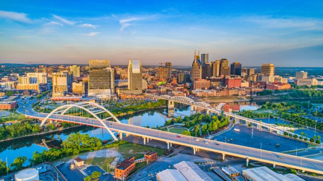 An aerial shot of the skyline of Nashville, Tennessee