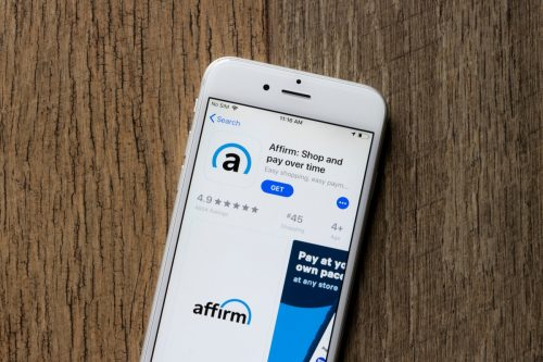 Portland, OR, USA - Jan 25, 2021: The Affirm mobile app icon is seen on an iPhone. Affirm, legally Affirm Holdings, Inc. is an American financial technology company based in San Francisco, California.