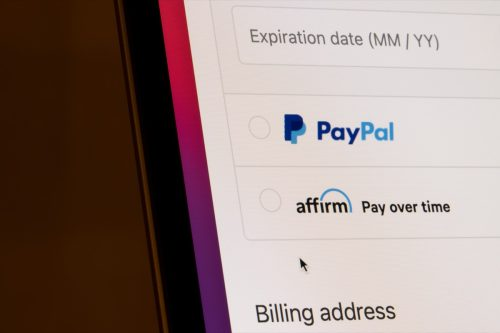 Portland, OR, USA - Mar 13, 2021: PayPal and Affirm payment options are seen on an online store's checkout page. Affirm is a fintech company providing installment loans to consumers at the POS.