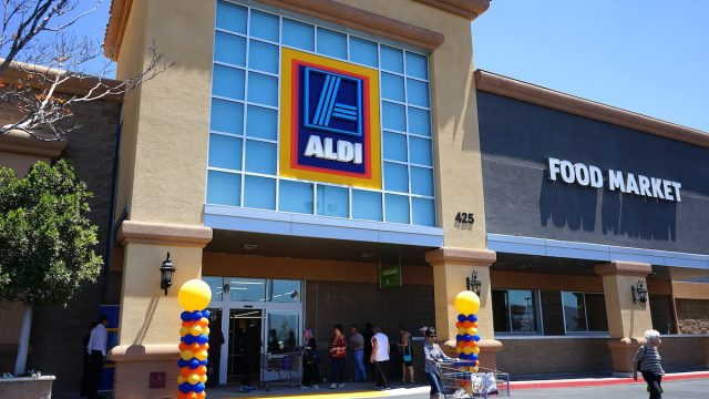 Aldi Store grand opening on June 16, 2016 in Simi Valley, California. Aldi is a low price grocery outlet that is rapidly expanding in the USA.
