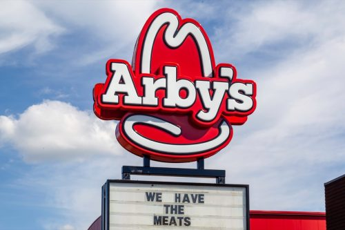 the exterior of an Arby's restaurant