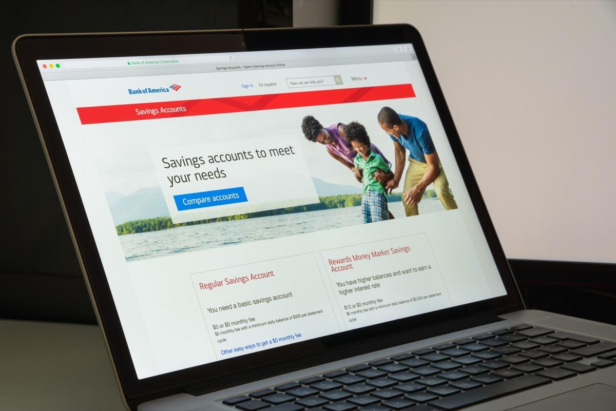bank of america website on laptop computer