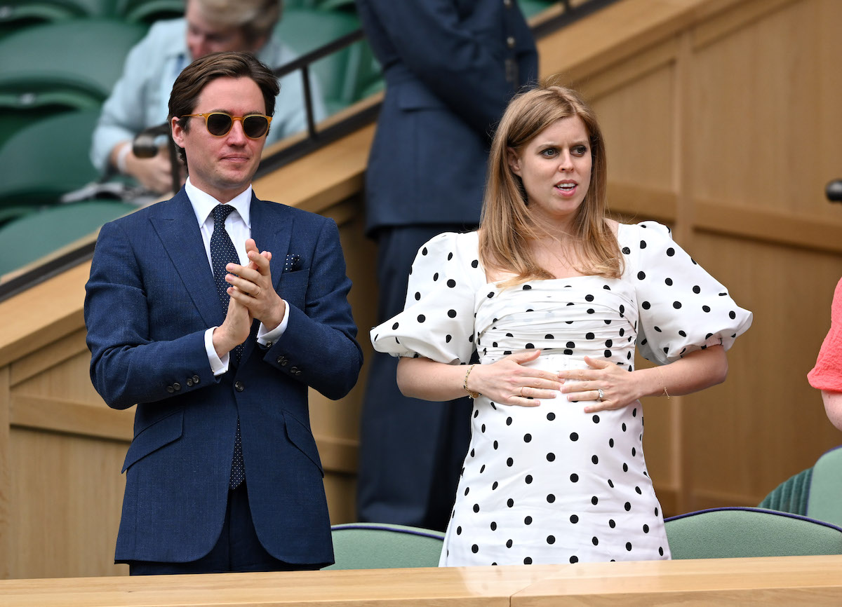 Edo Mapelli Mozzi and Princess Beatrice, Mrs Edoardo Mapelli Mozzi attend day 10 of the Wimbledon Tennis Championships at the All England Lawn Tennis and Croquet Club on July 08, 2021 in London, England.
