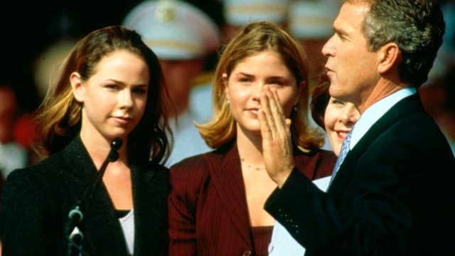Bush twin daughters Barbara and Jenna (then 17) and wife Laura in Austin, Texas, January 19, 1999.