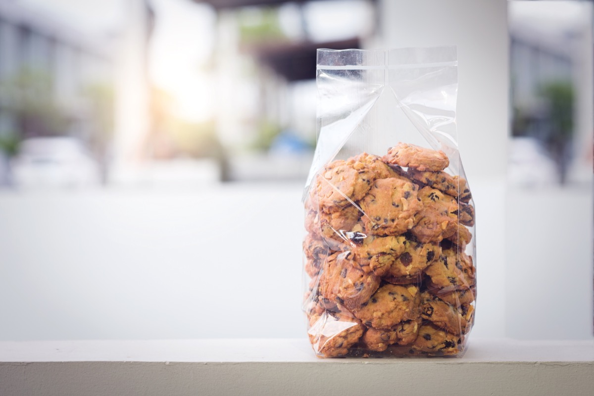 chocolate chip cookies in a plastic bag on a counter