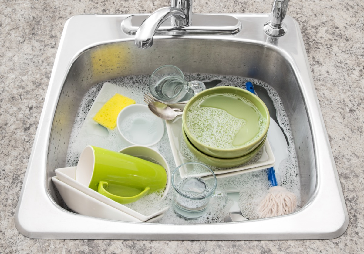dishes soaking in the sink