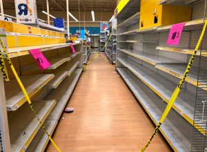Empty shelves due to a toy shortage