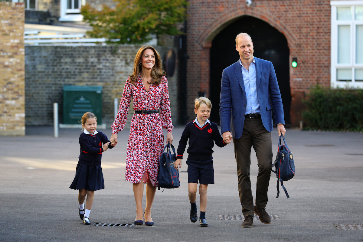Princess Charlotte arrives for her first day of school, with her brother Prince George and her parents the Duke and Duchess of Cambridge, at Thomas's Battersea in London. PA Photo. Picture date: Thursday September 5, 2019.