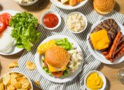 picnic foods on striped blanket