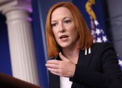 White House Press Secretary Jen Psaki speaking to reporters during a press conference