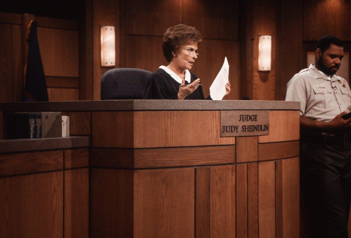 Judge Judy, Judith Sheindlin and bailiff Petri Hawkins-Byrd on Set on February 14. 1997 in Los Angeles, California.