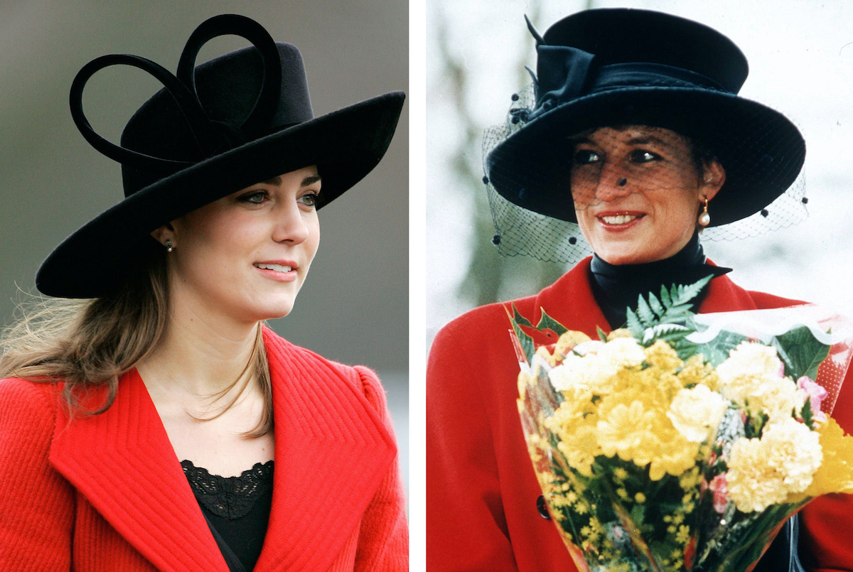 Kate Middleton, Prince William's girlfriend, attends the Sovereign's Parade at Sandhurst Military Academy to watch the passing-out parade on December 15, 2006 in Surrey, England; Princess Diana At Sandringham On Christmas Day. The Princess Is Wearing A Red Coat And A Broad-brimmed Black Hat. She Is Carrying A Bouquet Of Flowers.