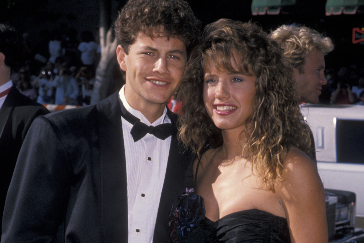 Actor Kirk Cameron and date Leanna Creel attend the 41st Annual Primetime Emmy Awards on September 17, 1989 at the Pasadena Civic Auditorium in Pasadena, California.