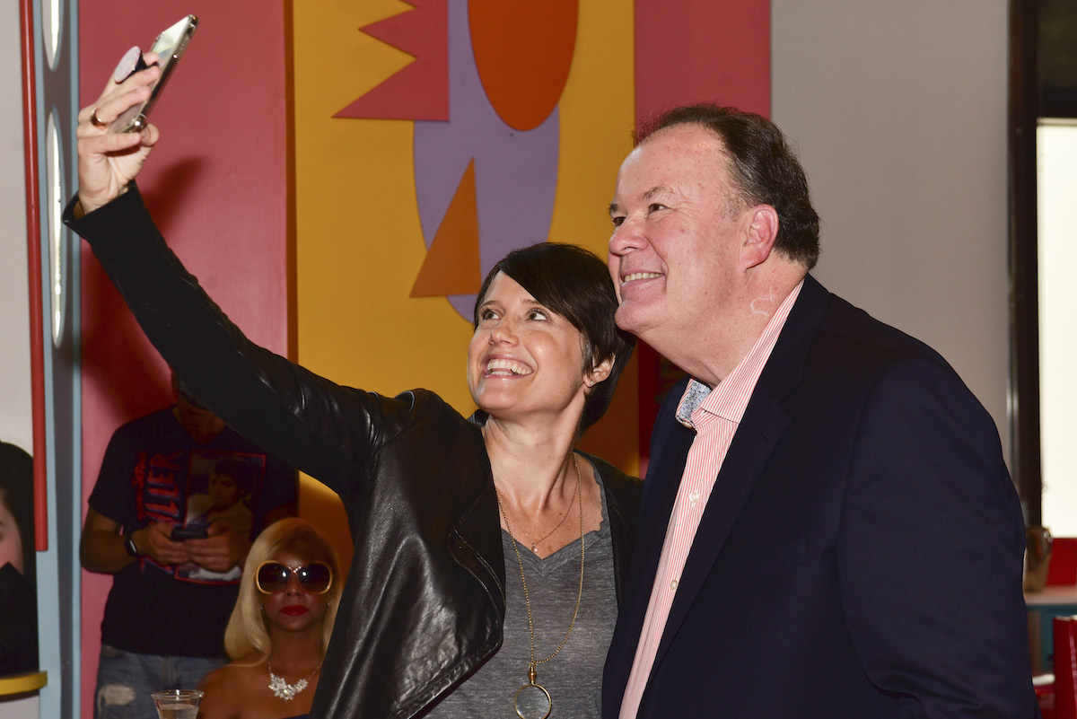 Leanna Creel (left) and Dennis Haskins take a selfie together during the National Max Pop-Up Saved By The Bell Day Celebration on August 20, 2018 in West Hollywood, California.