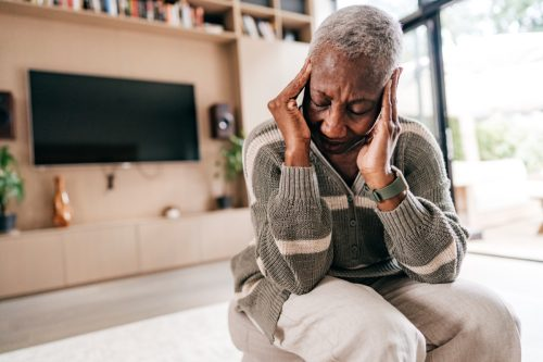 Senior woman feeling discomfort and weakness. All frames with completely altered photos by photographer