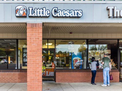 the exterior of a Little Caesars restaurant