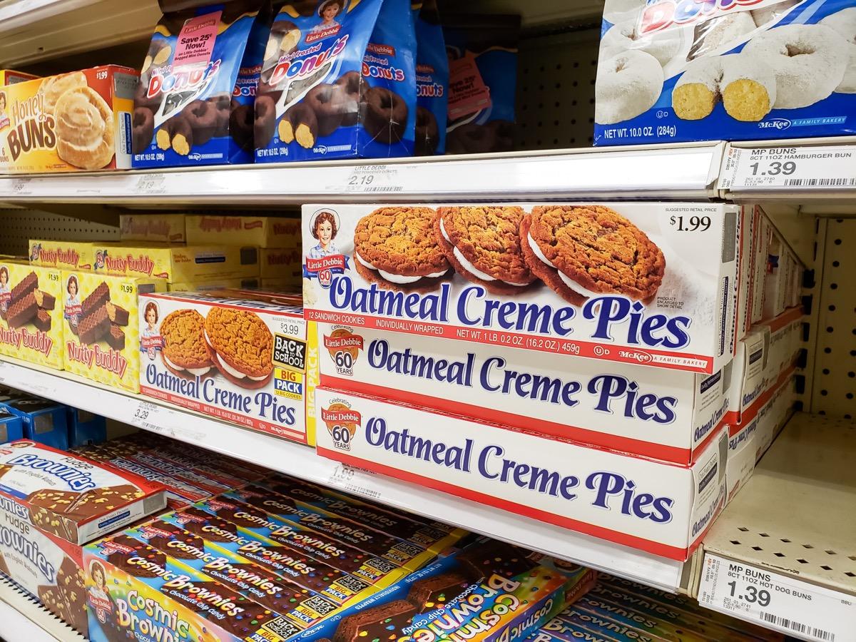 aisle of little debbie snacks in a supermarket