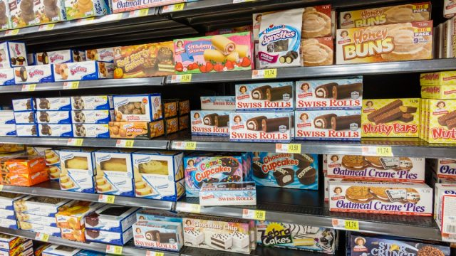 aisle of little debbie snack foods in supermarket